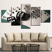 Cards And Dices 5 Piece HD Multi Panel Canvas Wall Art Frame