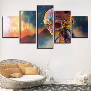 Colorful Alien 5 Piece HD Multi Panel Canvas Wall Art Frame