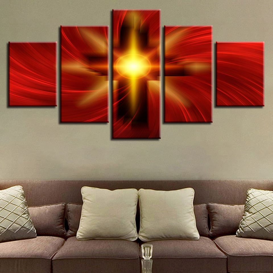 Holy Light Of The Cross Of Christ 5 Piece HD Multi Panel Canvas Wall Art Frame