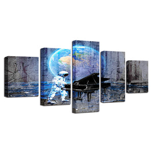 Astronaut Piano Dream 5 Piece HD Multi Panel Canvas Wall Art Frame