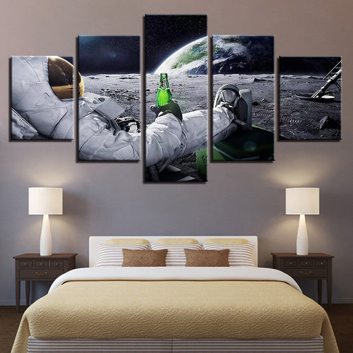Chilling in the Space 5 Piece HD Multi Panel Canvas Wall Art Frame