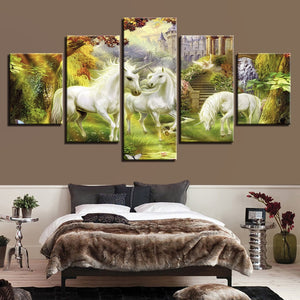 Unicorn Garden 5 Piece HD Multi Panel Canvas Wall Art Frame