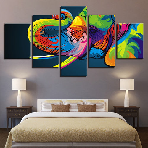Colorful Elephant 5 Piece HD Multi Panel Canvas Wall Art Frame