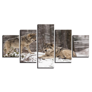 Wolf Couple 5 Piece HD Multi Panel Canvas Wall Art Frame