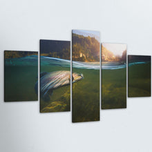 Fishing Landscape 5 Piece HD Multi Panel Canvas Wall Art Frame