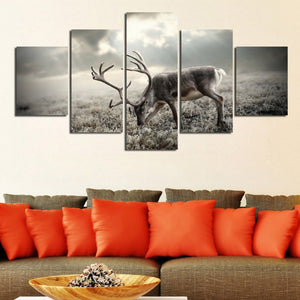 Winter Forest Deer 5 Piece HD Multi Panel Canvas Wall Art Frame