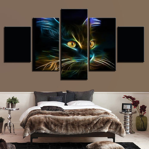 Abstract Cat Painting 5 Piece HD Multi Panel Canvas Wall Art Frame