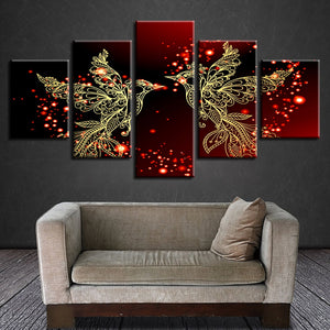 Red And Gold Love Birds 5 Piece HD Multi Panel Canvas Wall Art Frame