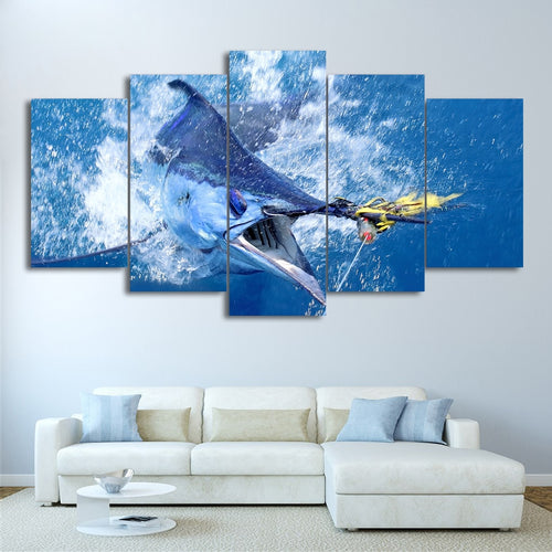 Jumping Marlin Fish 5 Piece HD Multi Panel Canvas Wall Art Frame