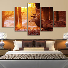 Sunshine Forest In Winter Deer 5 Piece HD Multi Panel Canvas Wall Art Frame