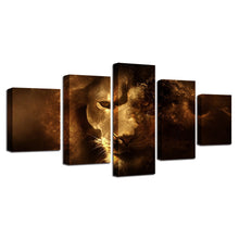 Lion's Stare 5 Piece HD Multi Panel Canvas Wall Art Frame