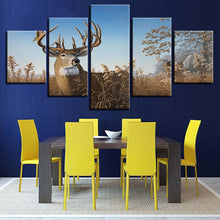 Elk Grazing 5 Piece HD Multi Panel Canvas Wall Art Frame