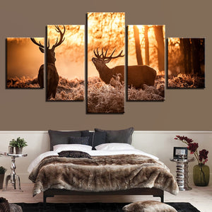 Forest Animal Deer 5 Piece HD Multi Panel Canvas Wall Art Frame