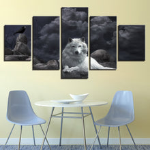 White Wolf 5 Piece HD Multi Panel Canvas Wall Art Frame