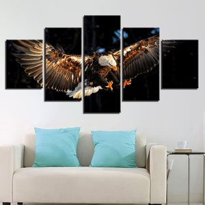 Eagle In Action 5 Piece HD Multi Panel Canvas Wall Art Frame