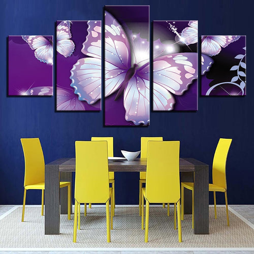 Purple Butterflies 5 Piece HD Multi Panel Canvas Wall Art Frame