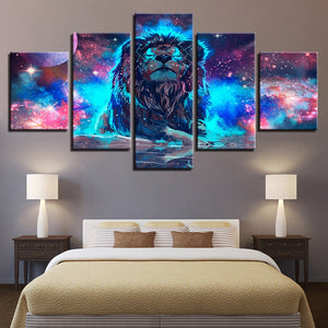 Lion Constellation 5 Piece HD Multi Panel Canvas Wall Art Frame
