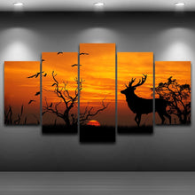 Deer in Sunset 5 Piece HD Multi Panel Canvas Wall Art Frame