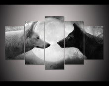 Wolves Black & White 5 Piece HD Multi Panel Canvas Wall Art Frame