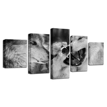 Black And White Wolves 5 Piece HD Multi Panel Canvas Wall Art Frame