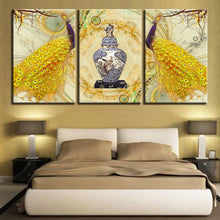 Golden Peacock Paintings 3 Piece HD Multi Panel Canvas Wall Art Frame