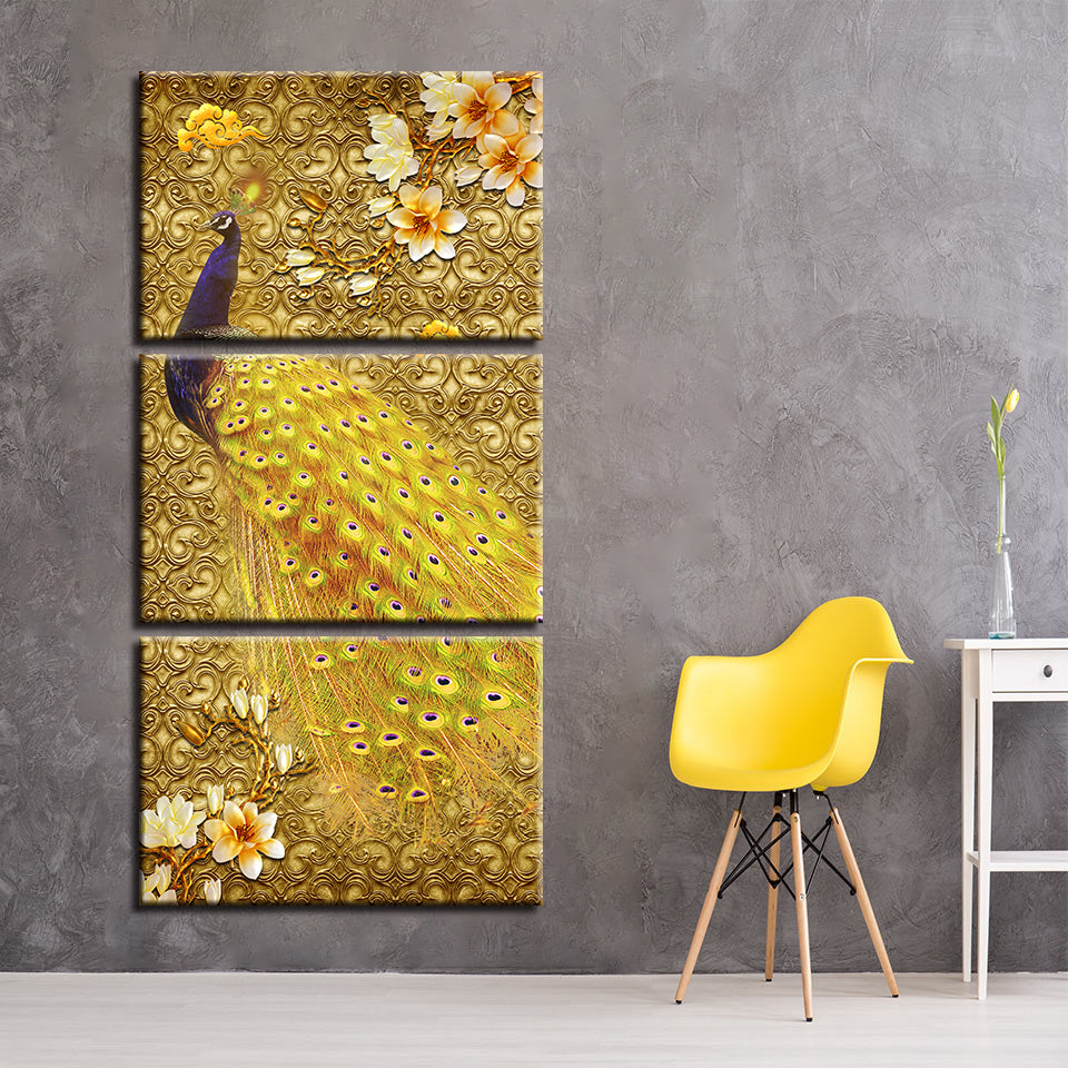 Golden Peacock 3 Piece HD Multi Panel Canvas Wall Art Frame
