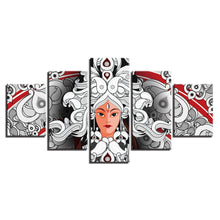 Hindu Goddess Durga 5 Piece HD Multi Panel Canvas Wall Art Frame