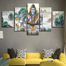 Lord Shiva And Bull Nandi 5 Piece HD Multi Panel Canvas Wall Art Frame