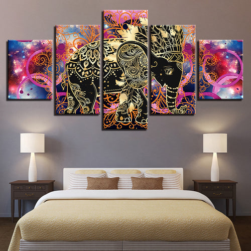 Indian Elephant 5 Piece HD Multi Panel Canvas Wall Art Frame