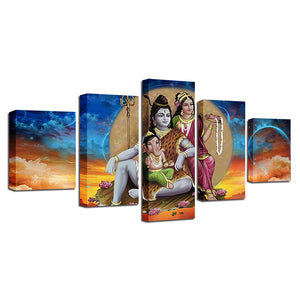 Shiva Parvati Ganesha 5 Piece HD Multi Panel Canvas Wall Art Frame