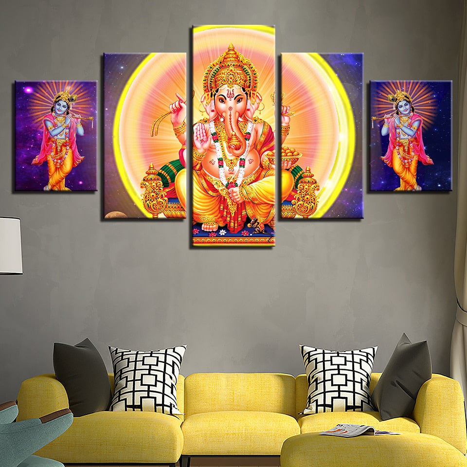 Lord Ganesha And Krishna 5 Piece HD Multi Panel Canvas Wall Art Frame