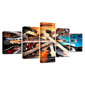 Multi-Color Guitars 5 Piece HD Multi Panel Canvas Wall Art Frame