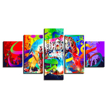 Abstract Hindu Elephant 5 Piece HD Multi Panel Canvas Wall Art Frame