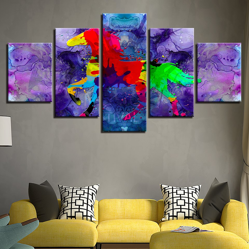 Abstract Horse Poster 5 Piece HD Multi Panel Canvas Wall Art Frame