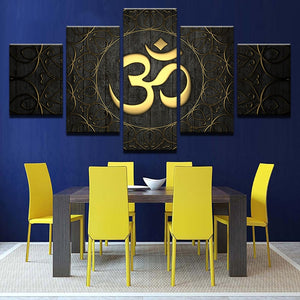 OM Mantra 5 Piece HD Multi Panel Canvas Wall Art Frame