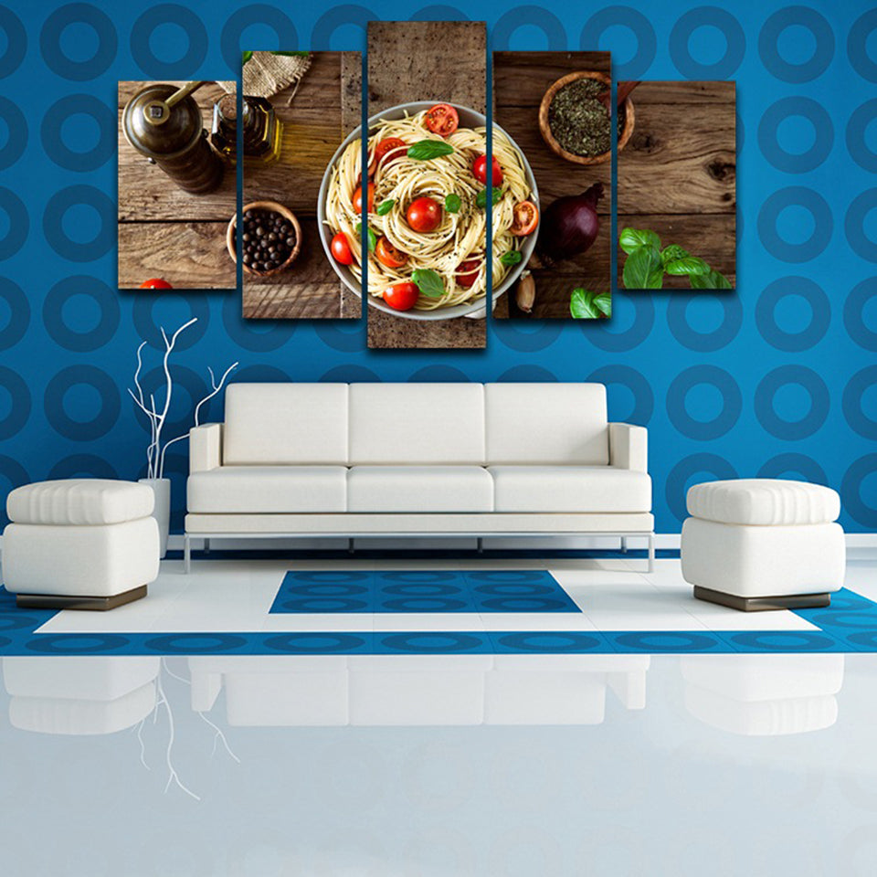 Pasta 5 Piece HD Multi Panel Canvas Wall Art Frame