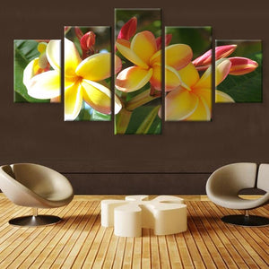 Yellow Flowers 5 Piece HD Multi Panel Canvas Wall Art Frame