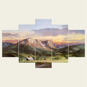 Mountain View 5 Piece HD Multi Panel Canvas Wall Art Frame