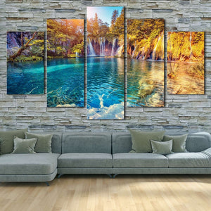 Waterfalls And Green Hills 5 Piece HD Multi Panel Canvas Wall Art Frame