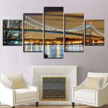 Bridge at Night 5 Piece HD Multi Panel Canvas Wall Art Frame