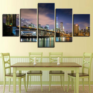 Scenic City Nightview 5 Piece HD Multi Panel Canvas Wall Art Frame