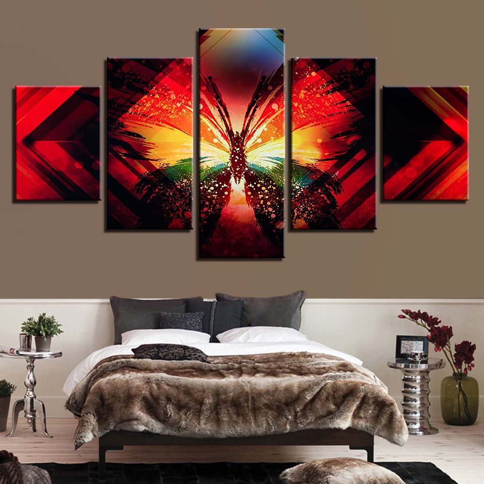 Butterfly Painting 5 Piece HD Multi Panel Canvas Wall Art Frame