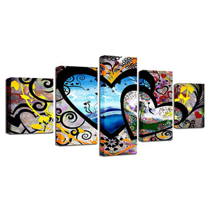 Abstract Hearts & Love 5 Piece HD Multi Panel Canvas Wall Art Frame