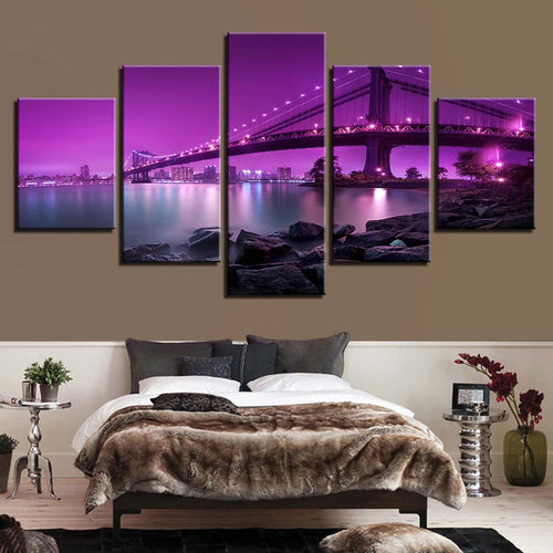 Bridge Night Scene 5 Piece HD Multi Panel Canvas Wall Art Frame