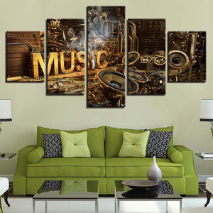 Music Painting 5 Piece HD Multi Panel Canvas Wall Art Frame