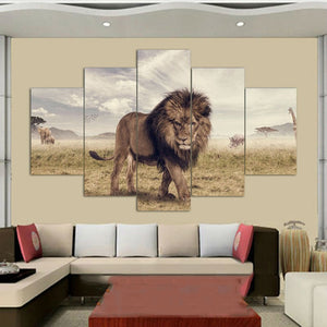 Majestic Lion 5 Piece HD Multi Panel Canvas Wall Art Frame