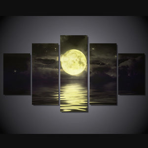 Moon on the Lake 5 Piece HD Multi Panel Canvas Wall Art Frame