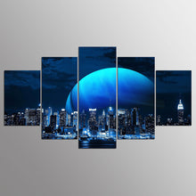 Moon & Skyline 5 Piece HD Multi Panel Canvas Wall Art Frame