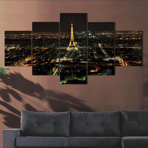 Eiffel Tower Night-view 5 Piece HD Multi Panel Canvas Wall Art Frame