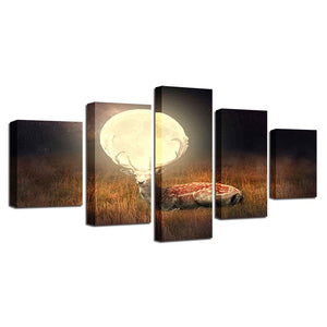 Deer Under Full Moon 5 Piece HD Multi Panel Canvas Wall Art Frame